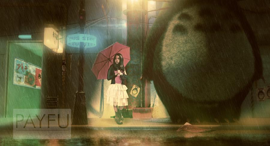 akira, totoro, otomo, miyazaki, enfant, bus stop